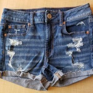 AEO Hi-Rise Shortie Jean Shorts